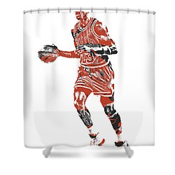 Michael Jordan Chicago Bulls Pixel Art 14 Shower Curtain