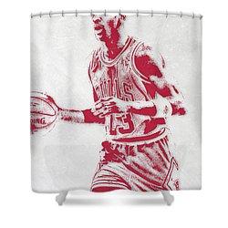 Michael Jordan Chicago Bulls Pixel Art 2 Shower Curtain by Joe Hamilton