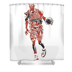 Michael Jordan Chicago Bulls Pixel Art 30 Shower Curtain
