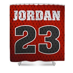 Michael Jordan Chicago Bulls Retro Vintage Jersey Closeup Graphic Design Shower Curtain