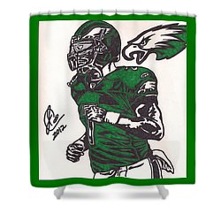 Shower Curtain featuring the drawing Micheal Vick by Jeremiah Colley