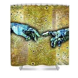 Shower Curtain featuring the mixed media Michelangelo's Creation Of Man by Tony Rubino