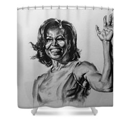 Shower Curtain featuring the painting  Michelle Obama  by Darryl Matthews