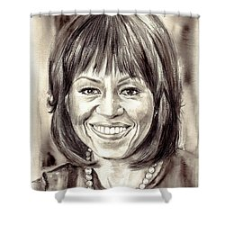 Michelle Obama Watercolor Portrait Shower Curtain