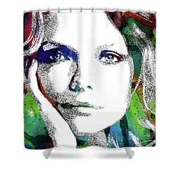 Michelle Pfeiffer Shower Curtain by Mihaela Pater