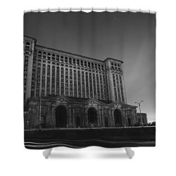 Michigan Central Station At Midnight Shower Curtain by Gordon Dean II