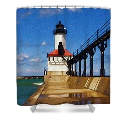 Michigan City Light 1 Shower Curtain