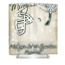 Michigan State Spartans Christmas Card 2 Shower Curtain by Joe Hamilton