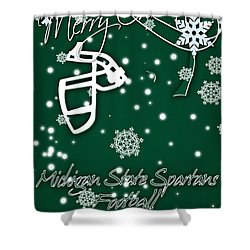 Michigan State Spartans Christmas Card Shower Curtain by Joe Hamilton