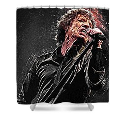Mick Jagger Shower Curtain by Taylan Apukovska
