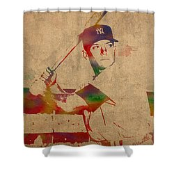 Mickey Mantle New York Yankees Baseball Player Watercolor Portrait On Distressed Worn Canvas Shower Curtain