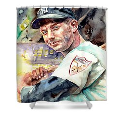 Mickey Mantle Watercolor Shower Curtain