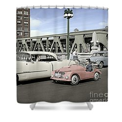 Micro Car And Cadillac Shower Curtain