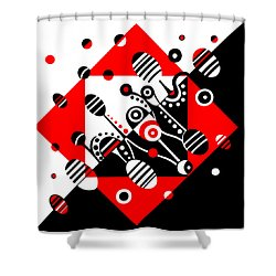 Microgravity - Red And Black Shower Curtain by Deyana Deco