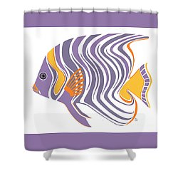 Mid Century Purple Fish Shower Curtain by Stephanie Troxell
