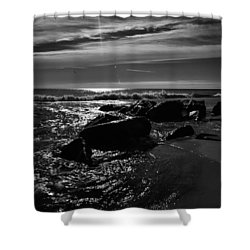 Mid-morning Midnight Beach Shower Curtain