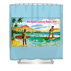 Mid Pacific Carnival Hawaii Surfing 1915 Shower Curtain by Peter Gumaer Ogden