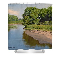 Mid Summer Prairie Stream Shower Curtain
