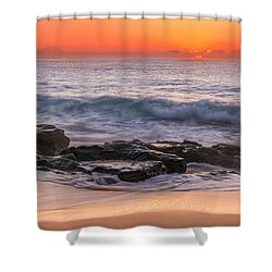 Middle Beach Sunrise Shower Curtain