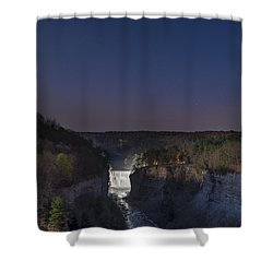 Shower Curtain featuring the photograph Middle Falls At Night by Mark Papke