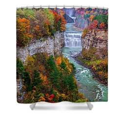 Middle Falls Of Letchworth State Park Shower Curtain by Mark Papke