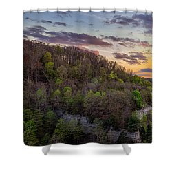 Shower Curtain featuring the photograph Middle Falls Sunset by Mark Papke