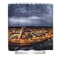 Middletown Connecticut, Twilight Panorama Shower Curtain by Petr Hejl
