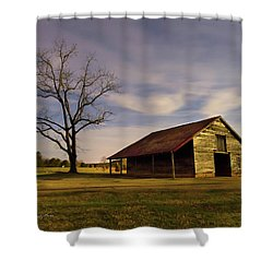 Shower Curtain featuring the photograph Midnight At The Mule Barn by George Randy Bass