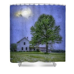 Midnight Blue Shower Curtain by Mary Timman