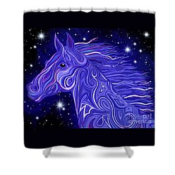 Shower Curtain featuring the drawing Midnight Blue Mustang by Nick Gustafson