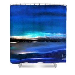 Midnight Blue Shower Curtain by Yul Olaivar