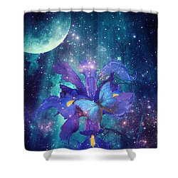 Shower Curtain featuring the digital art Midnight Butterfly by Mo T