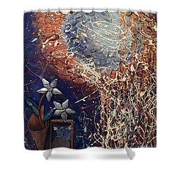 Midnight Flowers Shower Curtain