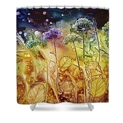 Midnight Flowers Shower Curtain