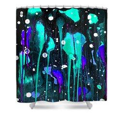 Midnight Garden Blue Shower Curtain