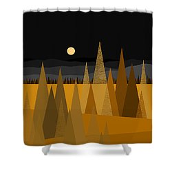 Midnight Gold Shower Curtain by Val Arie