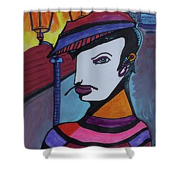 Midnight Mime Shower Curtain