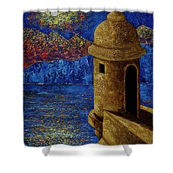Shower Curtain featuring the painting Midnight Mirage In San Juan by Oscar Ortiz
