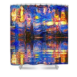 Midnight Oasis Shower Curtain by Holly Martinson