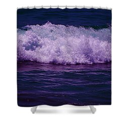 Midnight Ocean Wave In Ultra Violet Shower Curtain