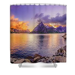 Shower Curtain featuring the photograph Midnight Orange by Dmytro Korol