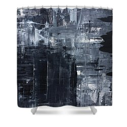 Midnight Shades Of Gray - 48x48 Huge Original Painting Art Abstract Artist Shower Curtain