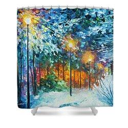 Midnight Snow Songs  Shower Curtain by Leonid Afremov