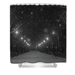 Midnight Snow Storm Shower Curtain