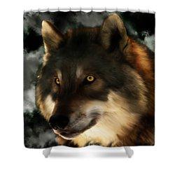 Midnight Stare - Wolf Digital Painting Shower Curtain