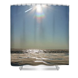 Midnight Sun Over The Arctic Shower Curtain by Anthony Jones