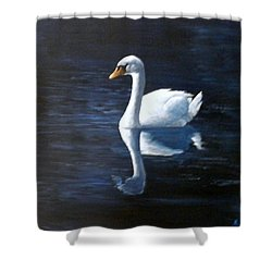 Midnight Swan Shower Curtain by Marti Idlet