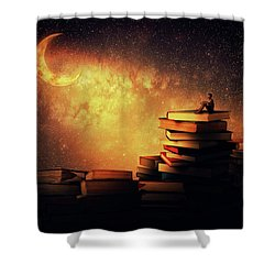 Midnight Tale Shower Curtain by Psycho Shadow