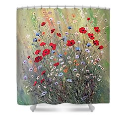 Midsummer Poppies Shower Curtain by Dorothy Maier