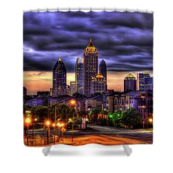 Shower Curtain featuring the photograph Midtown Atlanta Towers Over Atlantic Commons by Reid Callaway